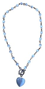 Blue Heart with round beads Toggle Clasp Necklace