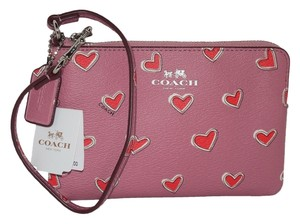 Coach Wallet Heart Wristlet in Pink with Red Hearts