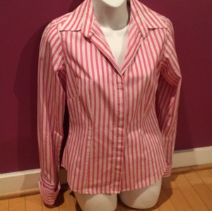 Thomas Pink Button Up Blouse Pink Striped Button Down Shirt Pink gray