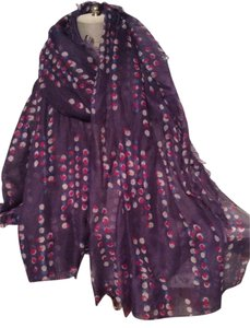 Long Wrap Scarf in Deep Purple, Cranberry, Blue and Ivory