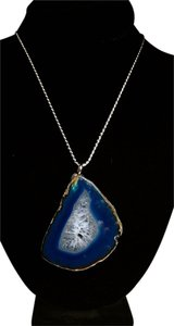 Sterling Silver Large Agate Slice Gemstone Necklace N152