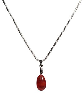 Other Sterling Silver Cherry Quartz Gemstone Pendant Necklace N151