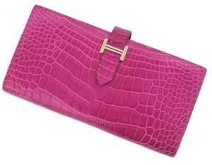 Hermès Auth HERMES Bearn wallet crocodile Alligator shine Rose Scheherazade (260206)