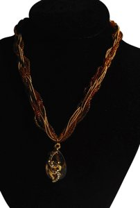 Other Beaded Necklace Several Strands Gold Color W/ Pendant N157