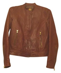 Coach Leather Top Brown Leather Jacket
