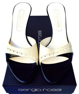 Sergio Rossi Leather New In Box Black And White New Open Toe Black Ivory Sandals