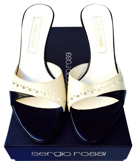 Sergio Rossi Leather New In Box New Open Toe Black Ivory Sandals