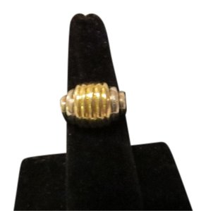 Lagos Caviar SS/18k YG Ribbed Domed Ring, Size 6.5