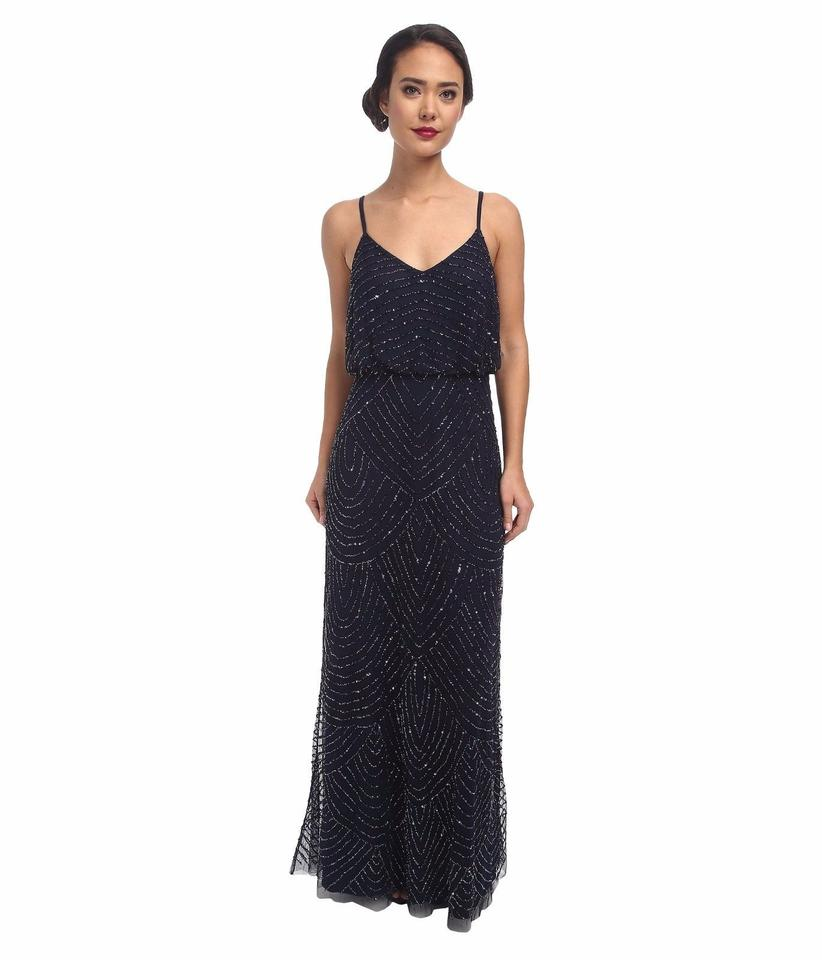 Adrianna Papell Ink (Navy Blue) Art Deco Beaded Blouson Gown Long ...