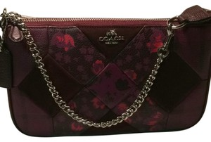 Coach Leather Silver Hardware Wristlet in Multi-Wine/floral