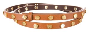 Tory Burch Brown leather Tory Burch Gold Reva Logo Stud Skinny belt New