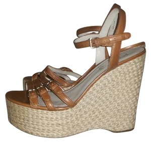 Michael Kors Leather Espadrille Peep Toe Leather Heel Sandal Platform brown Wedges