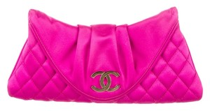 Chanel Hot Hot Satin New Moon Half Moon Cc Logo Monogram Embellished Textured Silver Silver Hardware Pink Clutch