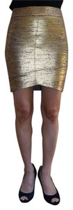 BCBGMAXAZRIA Straight Pencil Skirt Gold