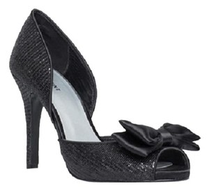 Shoemint New Bow D'orsay Glitter Black Pumps