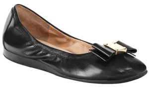 Cole Haan Ballet Gold Bow Ballet Classy Leather Gold Hardware No Wear Comfortable Classy Leather Designer Feminine Black Flats