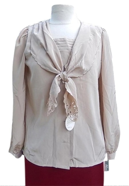 Other New W/Tag Machine Washable Polyester Size6 Tie Collar Top beige