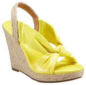 Corso Como Leather Espadrille Platform Slingback Sunshine Wedges