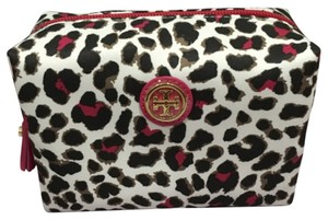 Tory Burch Tory Burch Snow Leopard All Over Pop Carnation Printed Brigette Cosmetic Case Bag Nylon White Black Red Pink New With Tag