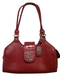 Other Red Handbag Vegan Alligator Print Shoulder Bag