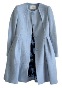 qua Wool Wool Flared Long Blue Armani Style Armani Flared Flared Fit And Flare Armani Feminine Flared Blue Coat