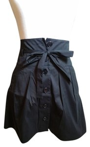 Theory Mini Up Pleats Tie Waist Mini Skirt Black