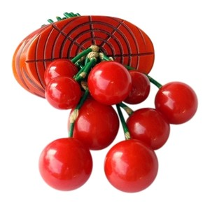 Vintage Bakelite Dangling Red Cherries Brooch / Pin