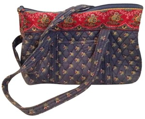 Vera Bradley Emily Blue Large Betsy Shoulder Quilted Blue Red Floral Retired Tote