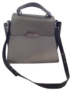 Zac Posen Leather Geometric Eartha Satchel Gray Metallic Shoulder Bag