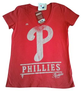 Majestic Sports Phillies T Shirt Red