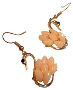 Other Pink Gold Swan Dangle Earrings Crystals J1942