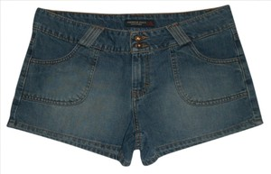 American Eagle Outfitters Zip Fly Back Flap Pockets Mini/Short Shorts Blue