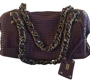 Be&D Chain Handle Quilted Satchel in Eggplant