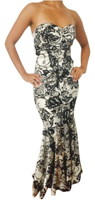dd1f57e0 Xscape Black & White Perfectly Fitted Affair Gown Long Formal Dress ...