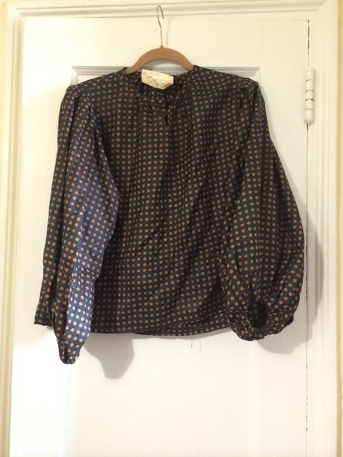 Yves Saint Laurent Vintage Top Dark Blue w/ Gold Dots