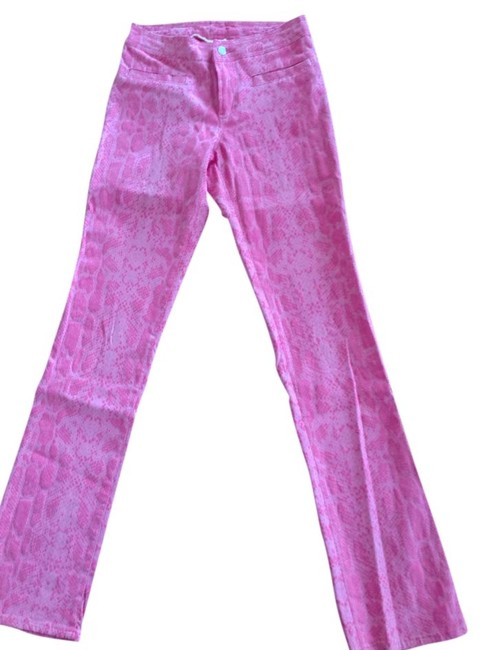 Cimmaron Straight Pants Pink snake skin print