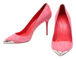 Alexander McQueen Pointed Toe Metal Toe Suede Pink Pumps