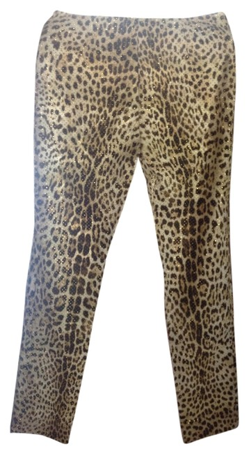 Item - Brown Cream Leopard Print with Gold Beads Pants Size 2 (XS, 26)