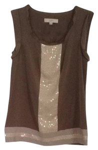 Ann Taylor LOFT Tan Sequins Top Beige, Cream