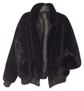 Saga Furs Luxurious Reversible Fashionable Black on Black Leather Jacket