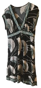 BCBGMAXAZRIA short dress Black with White/blue Floral Soft Machine Washable on Tradesy
