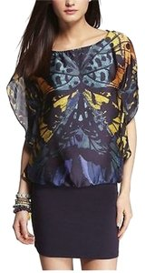 Express short dress Blue/Multi Flutter Top Knit on Tradesy