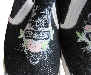Coach Sneakers Slip On Sneakers Sneakers Design black with pink and green flower Athletic