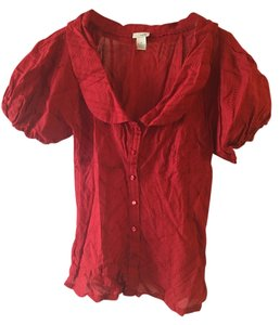 Odille Fitted Peasant Button Down Shirt Red