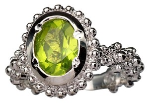 Green Peridot Platinum Ring