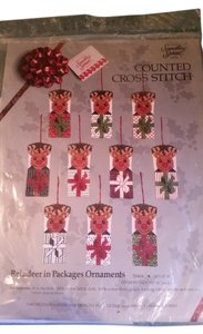 Something Special NEW Something Special counted cross stitch reindeer in packages ornaments #50444