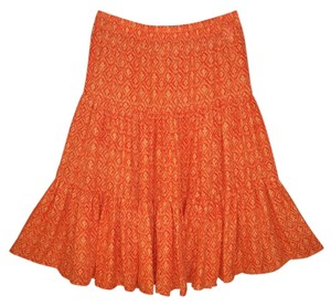Michael by Michael Kors Silk Boho Tiered A-line Ikat Skirt
