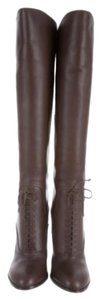 Tom Ford Riding Fall Winter Leather Chic Trendy Heeled Heel Dark Soft Otk Knee High Over The Knee Equestrian Size Classic Chocolate Brown 38 Boots