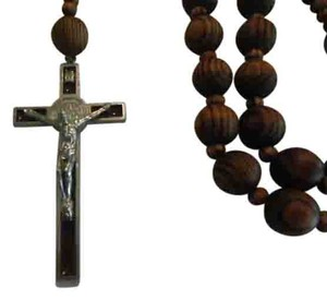 Other NEW BEAUTIFUL NO TAGS Rosary BIG WOOD SILVER CROSS