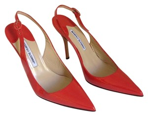 Manolo Blahnik Patent Leather Slingback Red Pumps